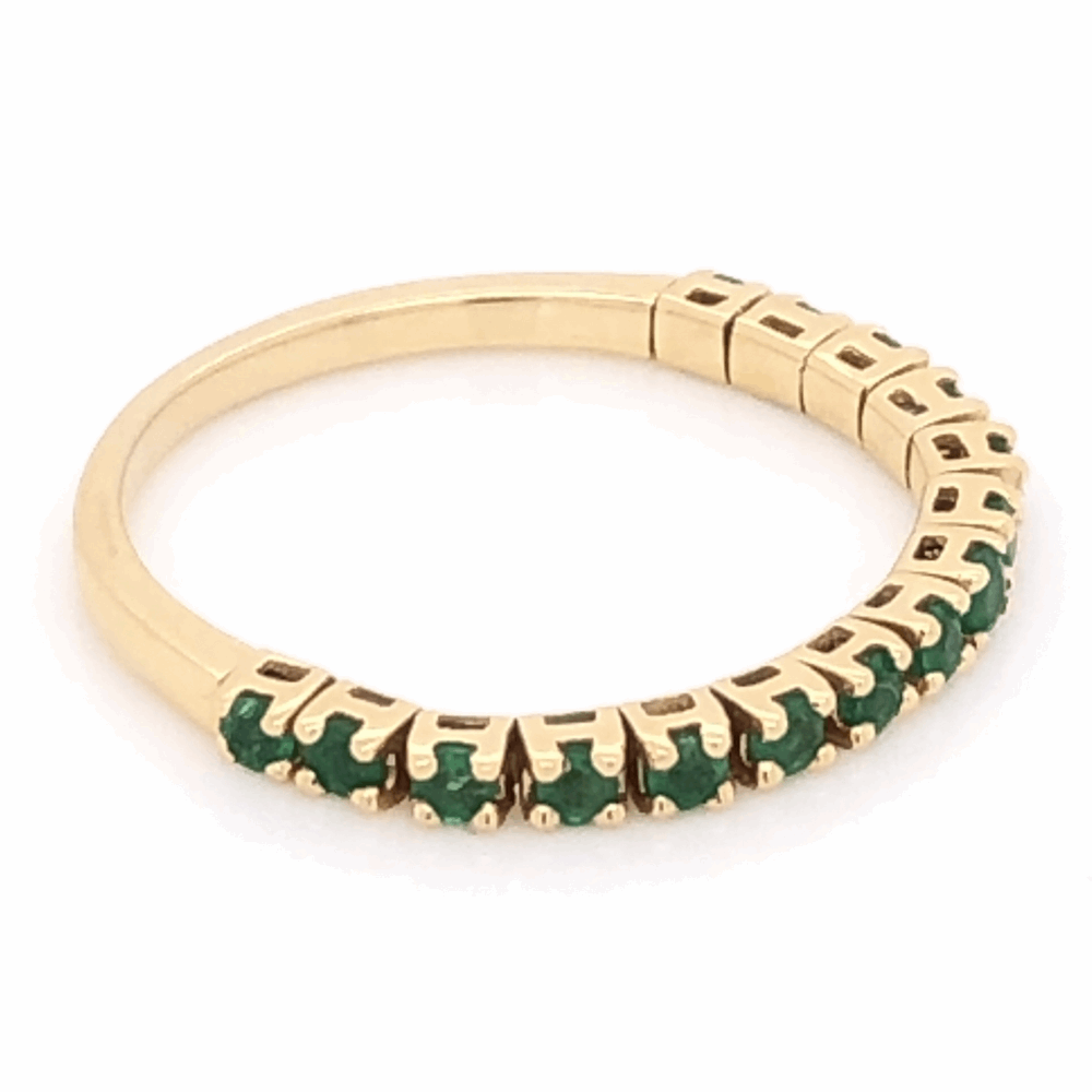 Image 2 for 14K Yellow Gold Flexible Band With .36tcw Emeralds 1.6g, s6.25