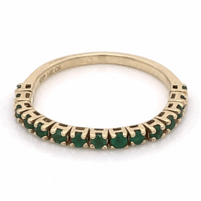 Closeup photo of 14K Yellow Gold Flexible Band With .36tcw Emeralds 1.6g, s6.25