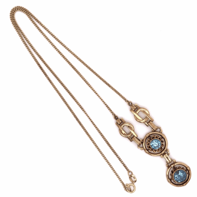 "Closeup photo of 14K Yellow Gold Retro Double Blue Zircon Drop Necklace 2.00tcw 7.6g, 17"" Chain"