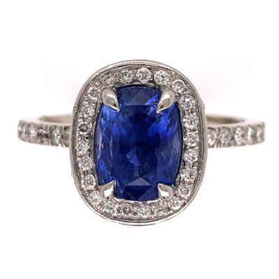 Closeup photo of Platinum 2.00ct Oval Sapphire & .80tcw Diamond Ring 8.4g, s5