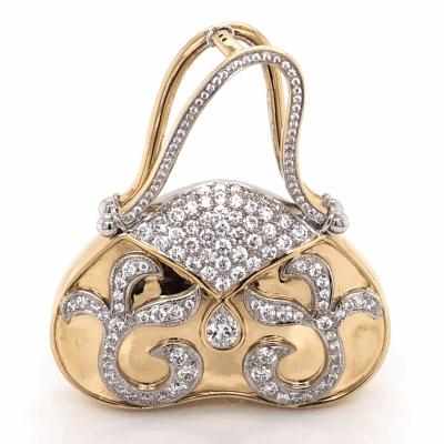 Closeup photo of 18K Yellow Gold Diamond Hand Bag 2.25tcw 18.3g