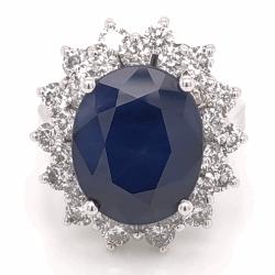 14K White Gold 7.77ct Oval Dark Blue Sapphire & 1.95tcw Diamond Ring