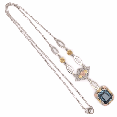 Closeup photo of 14K Tri Color Gold Arts & Crafts Necklace with Filigree and a Blue Synthetic Spinel 4.2g, 14.5""