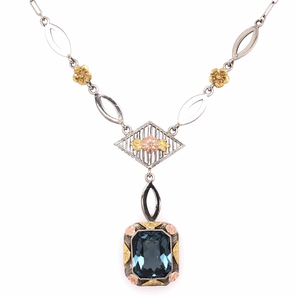 Image 2 for 14K Tri Color Gold Arts & Crafts Necklace with Filigree and a Blue Synthetic Spinel 4.2g, 14.5""