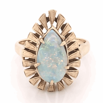 Closeup photo of 18K Yellow Gold 1960's Pear Shape 2.00ct White Opal Bombay Style Ring 4.6g, s7.5