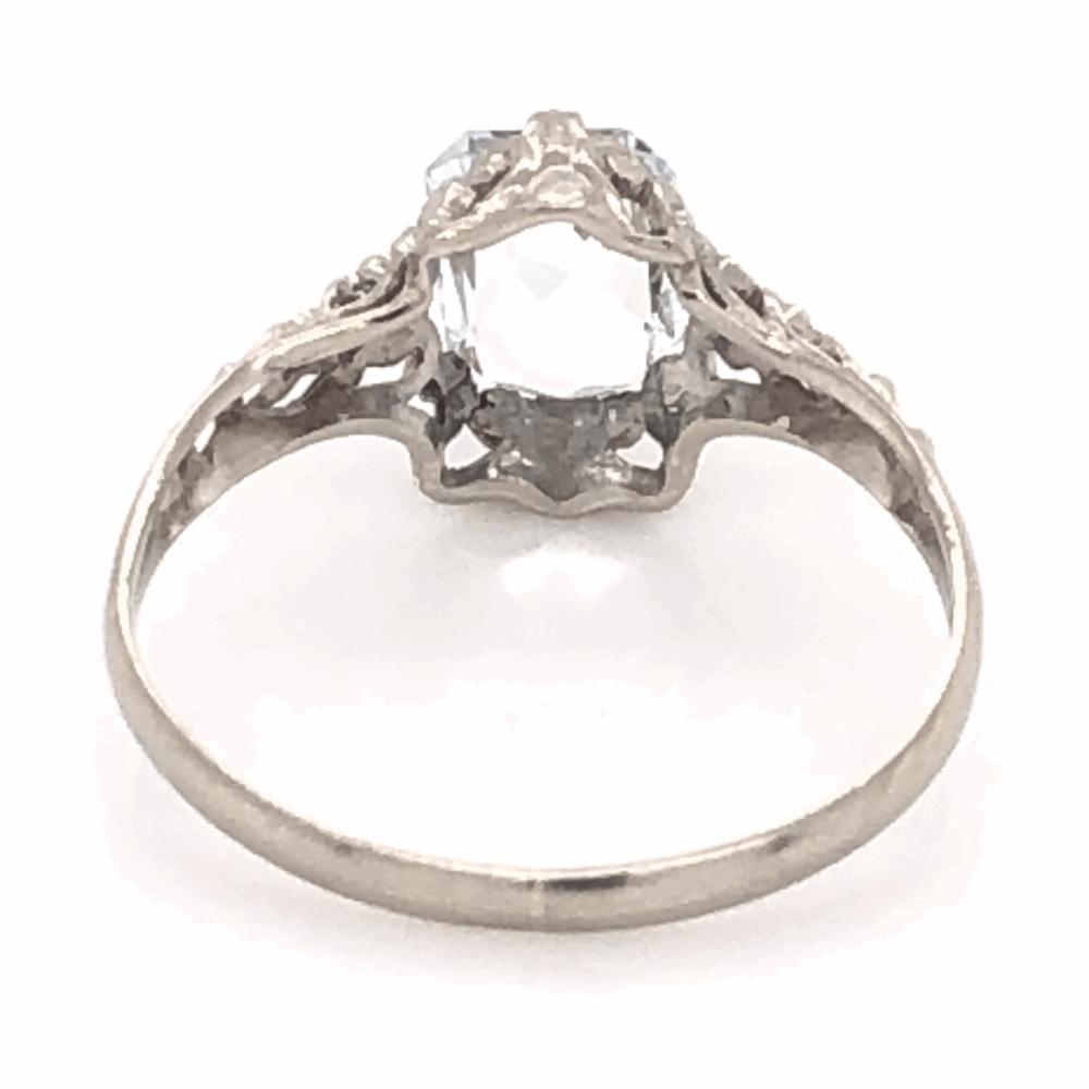 Image 2 for 14K White Gold Art Deco Filigree .75ct Aquamarine Ring 1.0g, s4.5