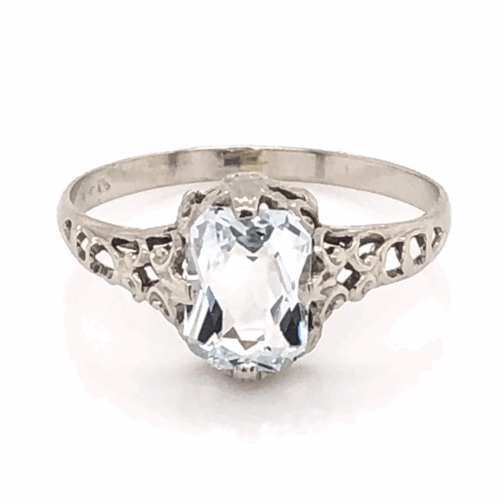 14K White Gold Art Deco Filigree .75ct Aquamarine Ring 1.0g, s4.5