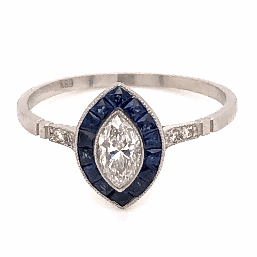 Platinum Art Deco .40ct Marquis Diamond Ring with .68tcw Sapphire Halo 2.5g, s7.25