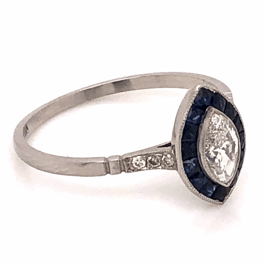 Image 2 for Platinum Art Deco .40ct Marquis Diamond Ring with .68tcw Sapphire Halo 2.5g, s7.25