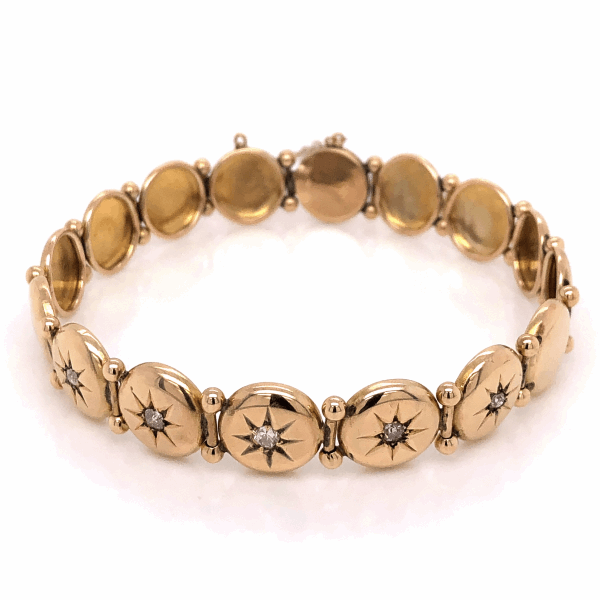 Closeup photo of 12K Yellow Gold Victorian Diamond Circle Station Bracelet .27tcw, 11.8g, 7.25""