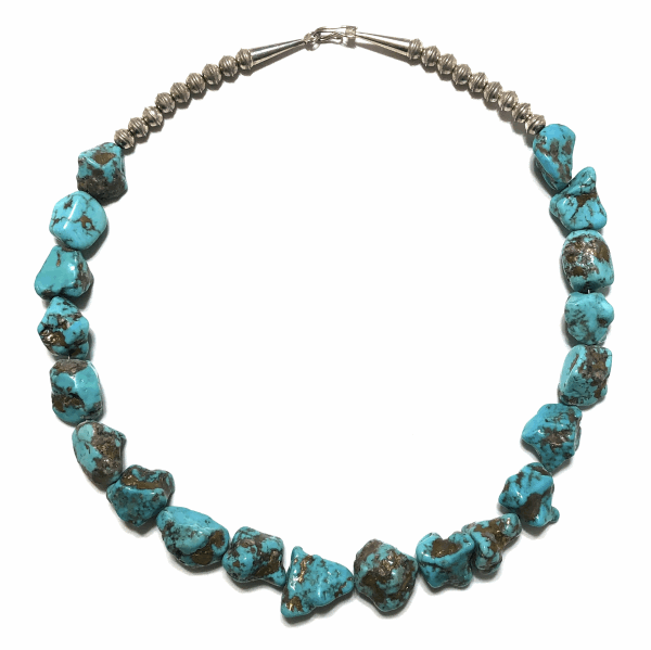 Closeup photo of 925 Sterling Native Old Pawn 20 Turquoise Nugget Necklace 152g, 20""