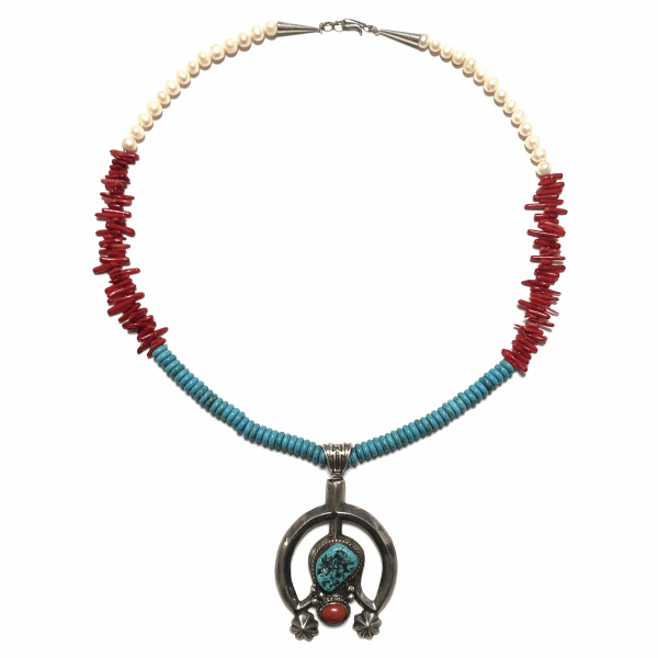 "Closeup photo of 925 Sterling Native Old Pawn Sand Cast Pendant on Pearl, Coral & Turquoise Necklace 97.0g, 23"" Long"