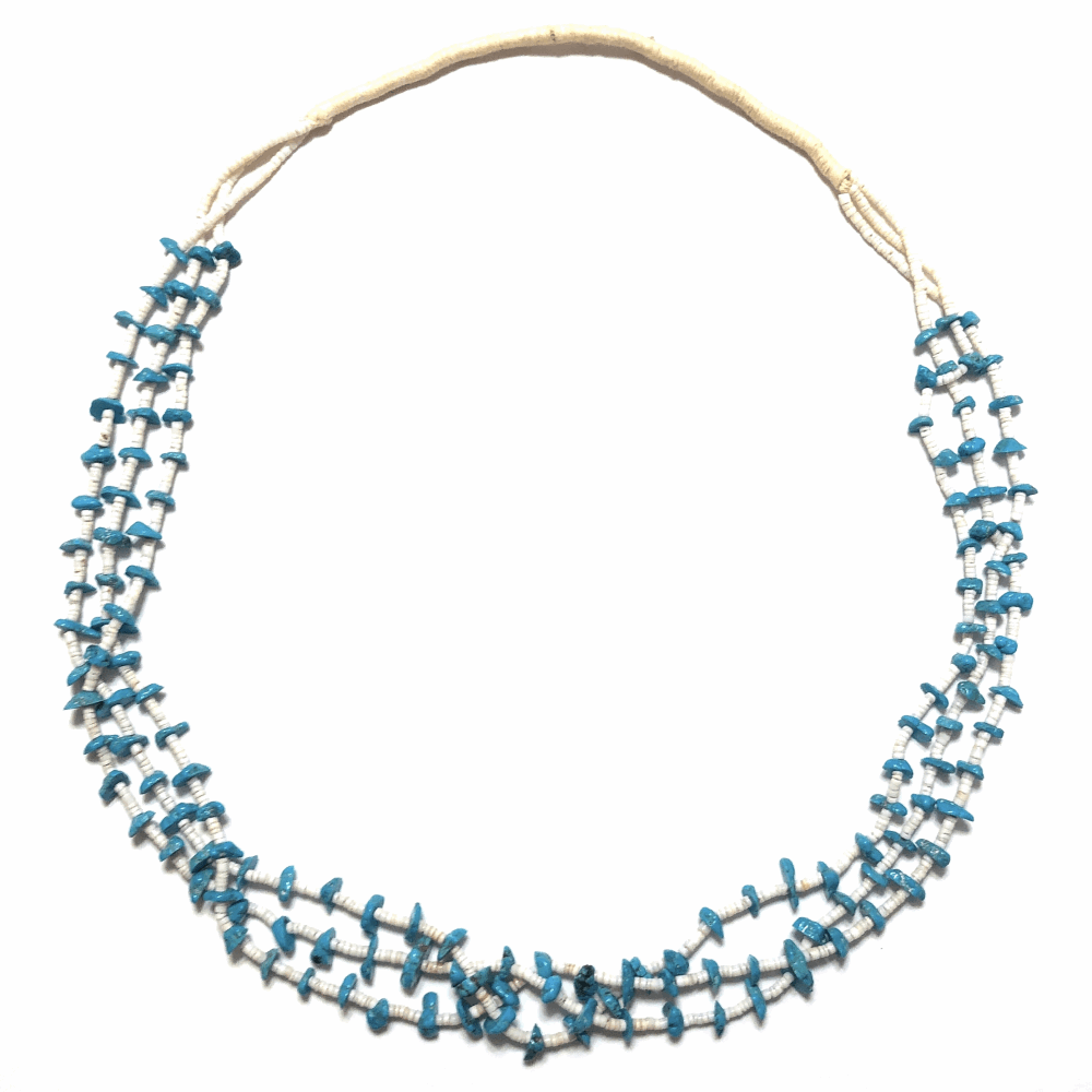 Native Old Pawn Turquoise & Shell Heishi Triple Strand Necklace