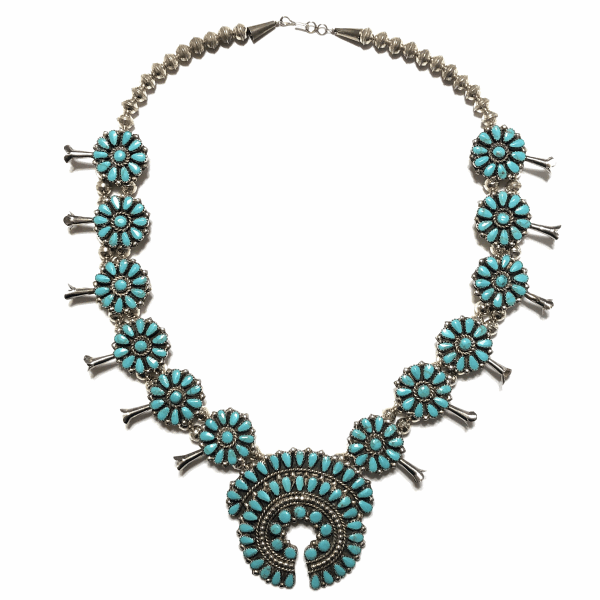 Closeup photo of 925 Sterling Native Old Pawn Zuni Petit Point Turquoise Squash Blossom Necklace