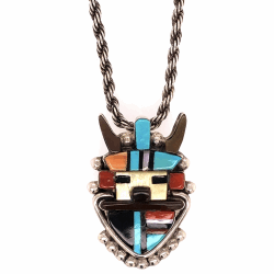 "Closeup photo of 925 Sterling Native Old Pawn CACHINI Kachina Pendant on 17"" Chain"