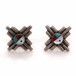 """Closeup photo of 925 Sterling Native Old Pawn Sunburst Mother of Pearl, Turquoise, Coral & Onyx Stud Earrings 5/8"""" Diameter"""