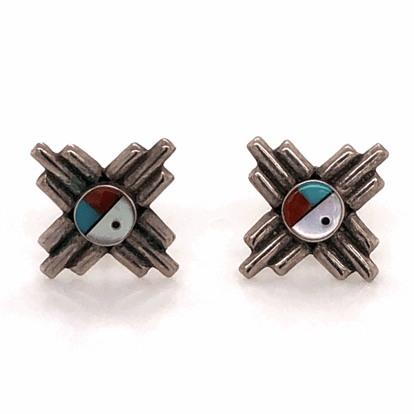 "Closeup photo of 925 Sterling Native Old Pawn Sunburst Mother of Pearl, Turquoise, Coral & Onyx Stud Earrings 5/8"" Diameter"