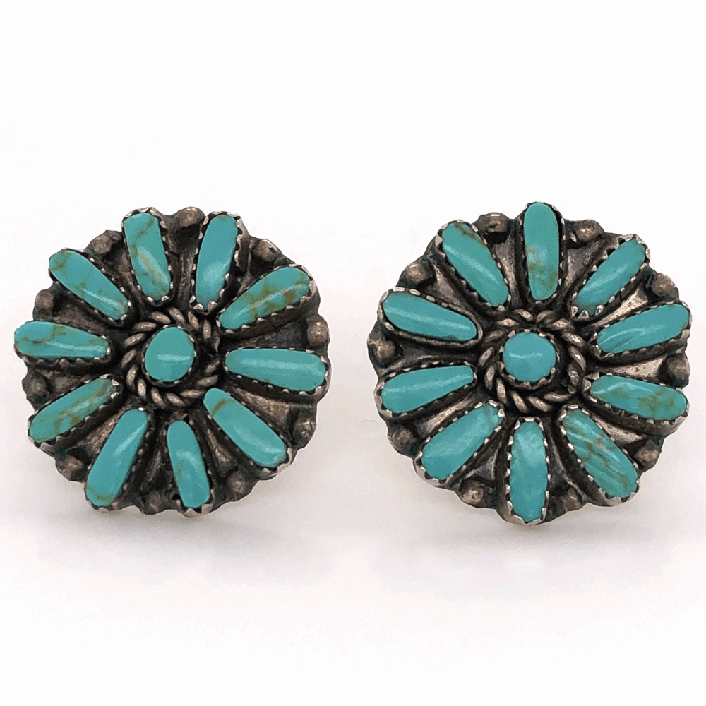 "925 Sterling Native Old Pawn Zuni Petit Point Turquoise Stud Earrings 1"" Diameter"