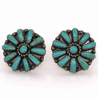 """Closeup photo of 925 Sterling Native Old Pawn Zuni Petit Point Turquoise Stud Earrings 1"""" Diameter"""