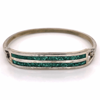 Closeup photo of 925 Sterling Native Old Pawn TAXCO Turquoise Mosaic Inlay Bracelet 14.7g, 6.5""