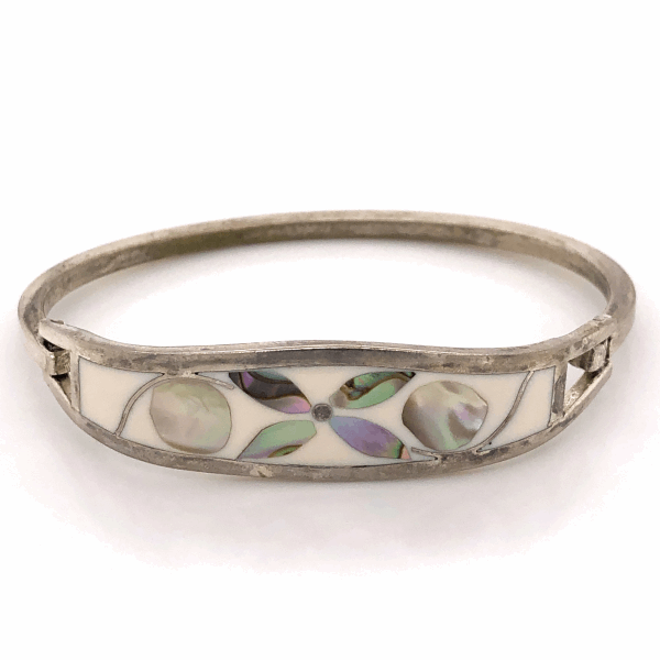 Closeup photo of 925 Sterling Native Old Pawn TAXCO Mother of Pearl Mosaic Inlay Bracelet 13.7g, 6.5""