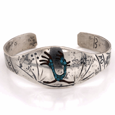 Closeup photo of 925 Sterling Native Turquoise & Coral Inlay RoadRunner Cuff 23.2g, 7""