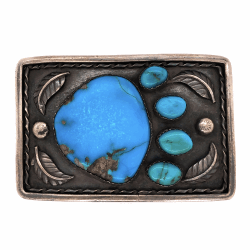 """Closeup photo of 925 Sterling Native Old Pawn Turquoise Bear Paw Belt Buckle 76.0g, 3 x 2"""""""
