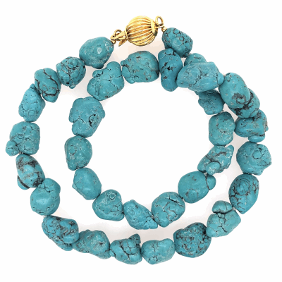 Closeup photo of Gold Filled Clasp Native Old Pawn Turquoise Nugget Necklace 12-14mm 57.6g