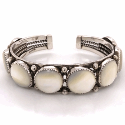 "Closeup photo of 925 Sterling Native 8 Station Mother of Pearl Cuff Bracelet 45.4g, .75"" wide, s7.25"