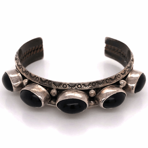 "Closeup photo of 925 Sterling Native Old Pawn 5 Black Onyx Cuff Bracelet 33.5g, 5/8"" Wide"