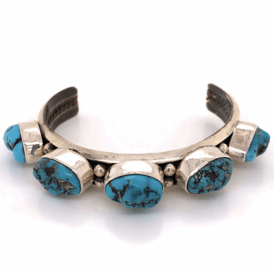 "Closeup photo of 925 Sterling Native Old Pawn 5 Station Turquoise Nugget Cuff Bracelet 41.6g, .5"" Wide"