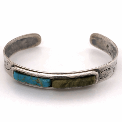 "Closeup photo of 925 Sterling Native Old Pawn Turquoise & Green Stone Cuff Bracelet 16.1g, 3/8"" Wide"