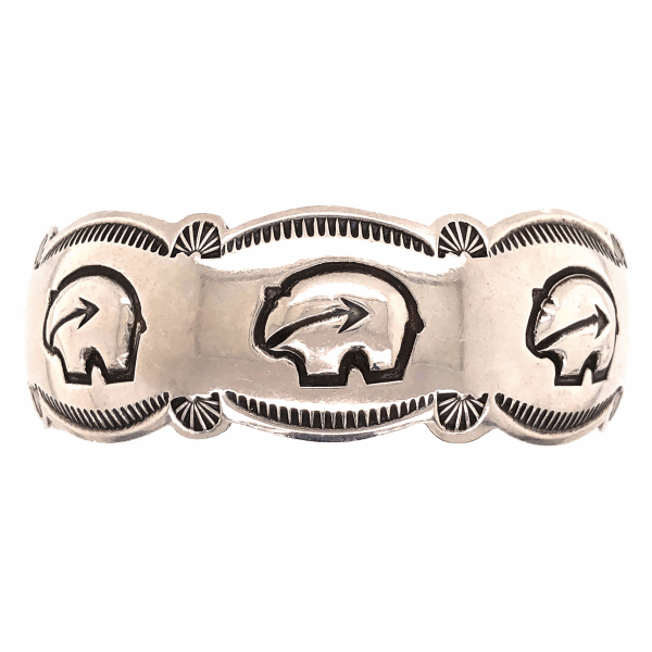 "Closeup photo of 925 Sterling Native Old Pawn HOPI 3 Bear Cuff Bracelet 18.6g, .8"" Wide"
