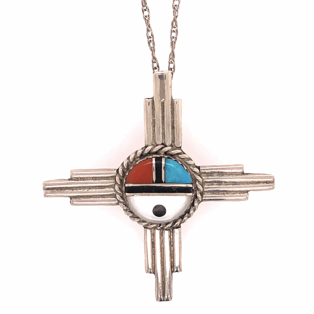 """Image 2 for 925 Sterling Native Old Pawn HOPI Turquoise, Coral, MOP & Onyx Pendant Necklace 6.5g, 1.75"""" Diameter, 19"""" Chain"""