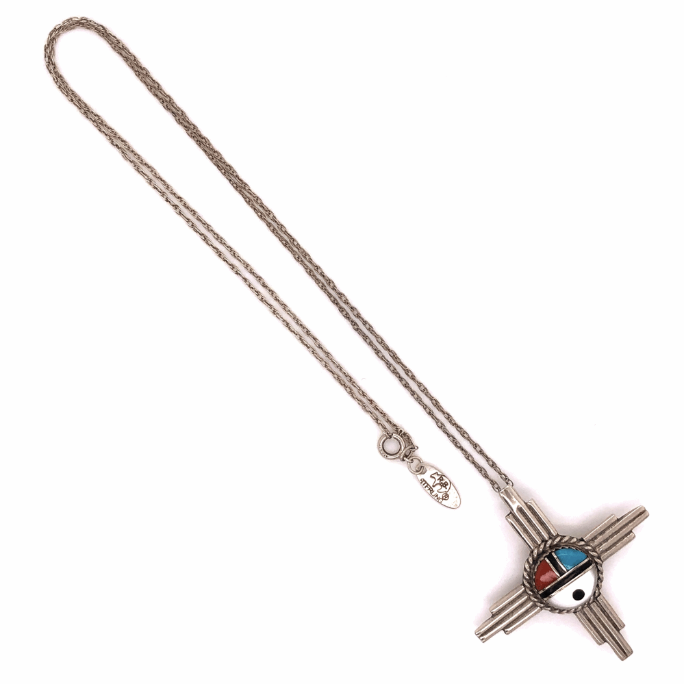 """925 Sterling Native Old Pawn HOPI Turquoise, Coral, MOP & Onyx Pendant Necklace 6.5g, 1.75"""" Diameter, 19"""" Chain"""