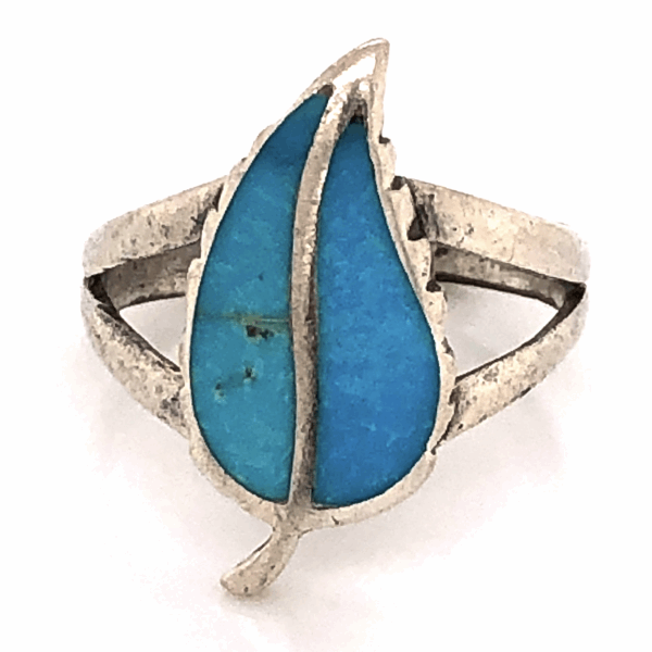 Closeup photo of 925 Sterling Old Pawn Native Split Shank Turquoise Inlay Leaf Ring 2.7g, s6