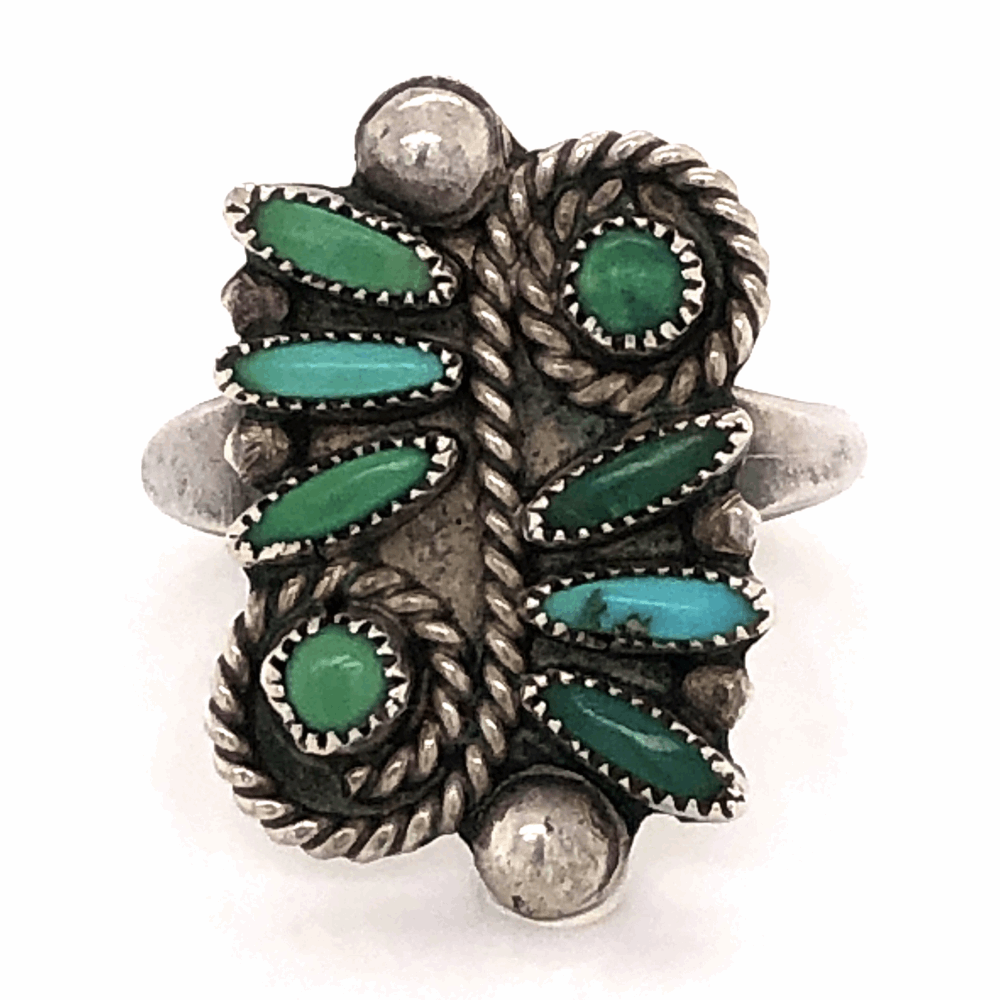 925 Sterling Old Pawn Native ZUNI Petit Point Green Turquoise Ring 3.9g, s5.5