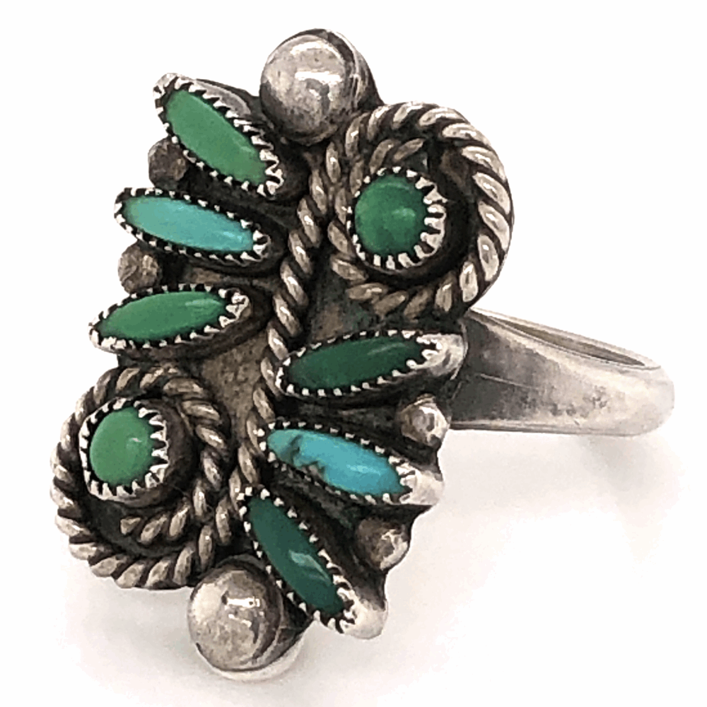 Image 2 for 925 Sterling Old Pawn Native ZUNI Petit Point Green Turquoise Ring 3.9g, s5.5