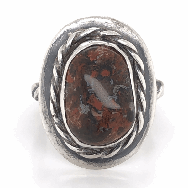 Closeup photo of 925 Sterling Old Pawn Native Bloodstone with Rope Halo Ring 8.0g, s7