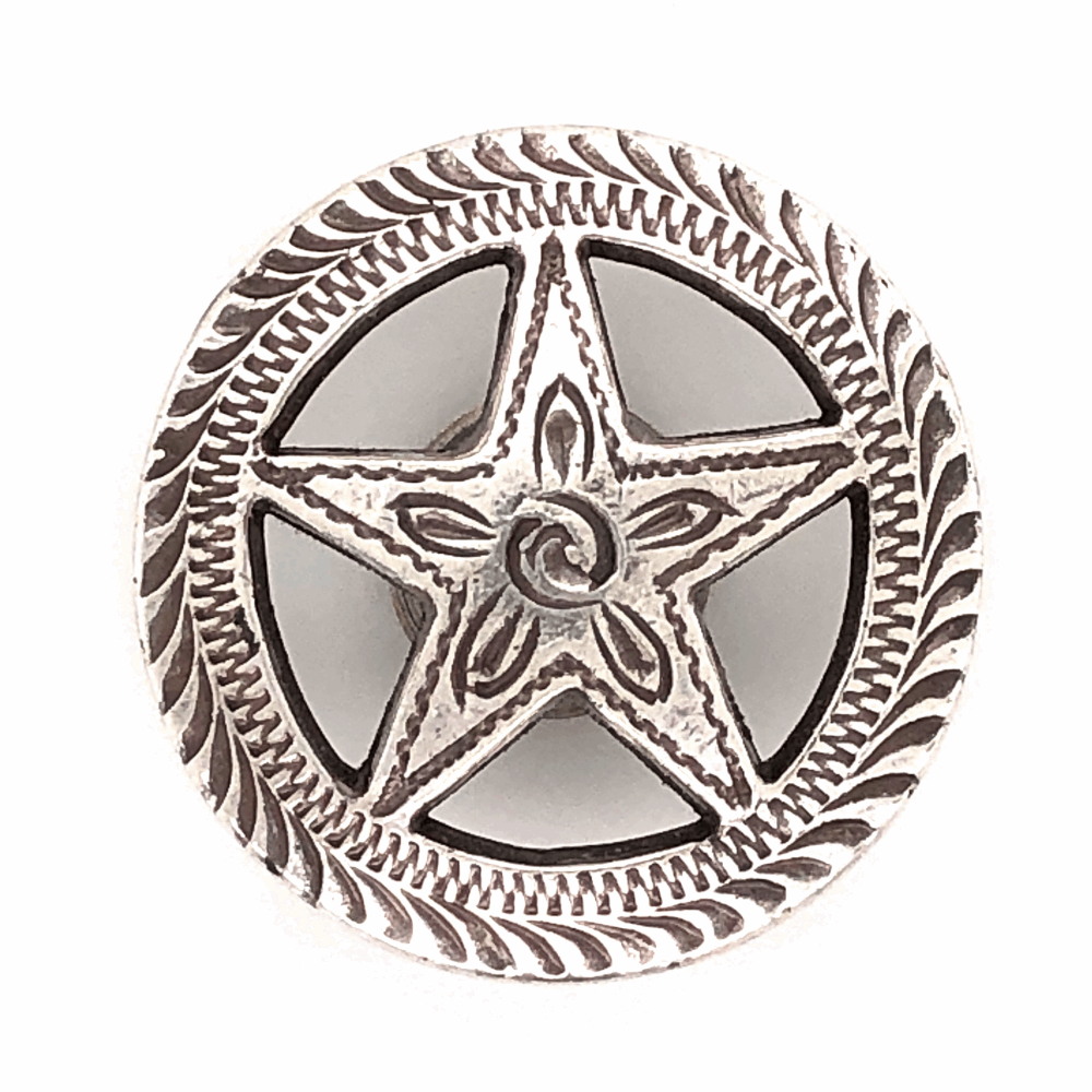 """925 Sterling Old Pawn Native Cut out Star Button 5.8g, 1.1"""" Diameter"""