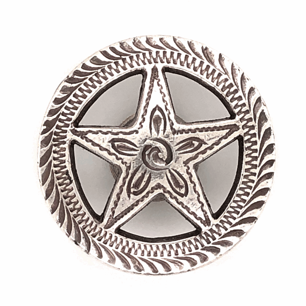 "Closeup photo of 925 Sterling Old Pawn Native Cut out Star Button 5.8g, 1.1"" Diameter"