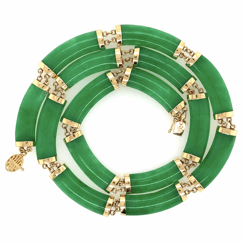 """Image 2 for 14K Yellow Gold 1960's Chinese Jade 15 Piece Necklace 2g, 15"""""""