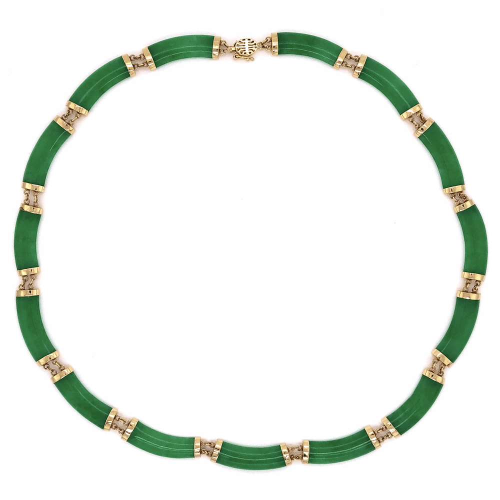 """14K Yellow Gold 1960's Chinese Jade 15 Piece Necklace 2g, 15"""""""