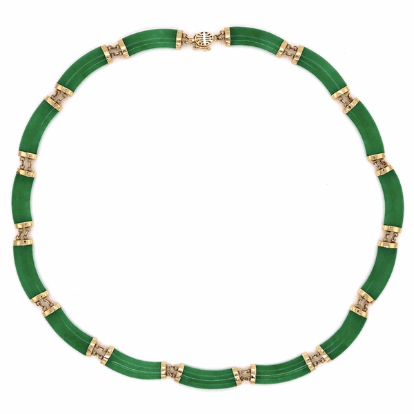 Closeup photo of 14K Yellow Gold 1960's Chinese Jade 15 Piece Necklace 2g, 15""