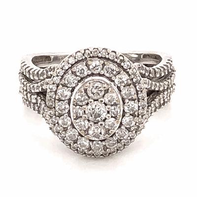 Closeup photo of 10K White Gold Cluster Diamond Ring 1.25tcw 5.2g, s7