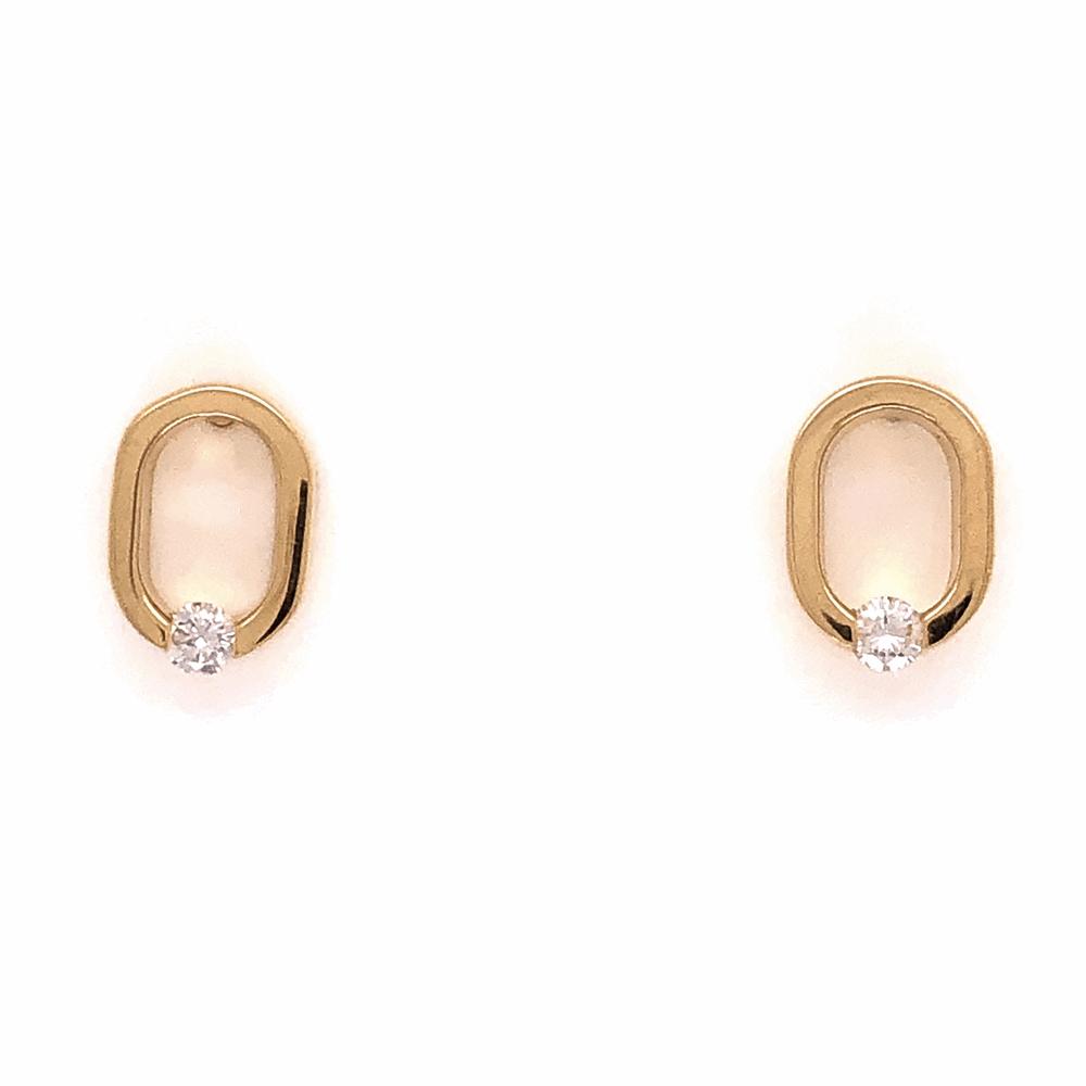 """14K Yellow Gold COFFIN & TROUT Open """"0"""" Diamond Earrings .14tcw 2.8g"""