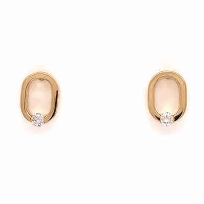 "Closeup photo of 14K Yellow Gold COFFIN & TROUT Open ""0"" Diamond Earrings .14tcw 2.8g"