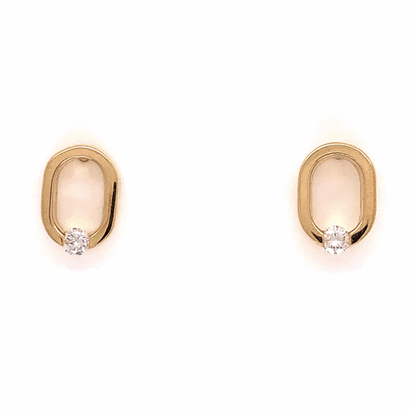 "Closeup photo of 14K Yellow Gold COFFIN & TROUT Open ""0"" Diamond Earrings .14tcw 2.8g"