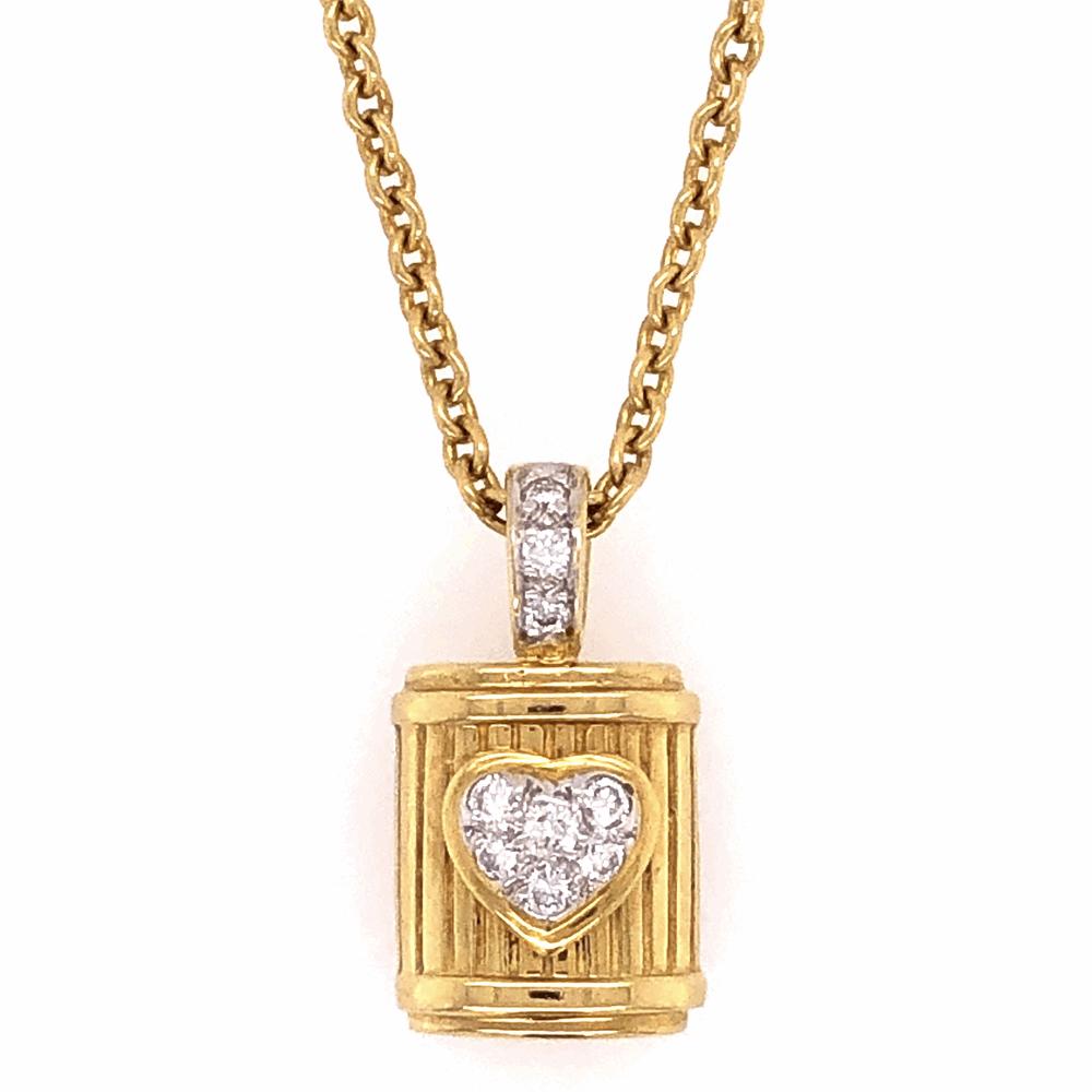 "18K Yellow Gold RG DWK Diamond Heart Pendant .22tcw 12.8g on 18"" Chain"