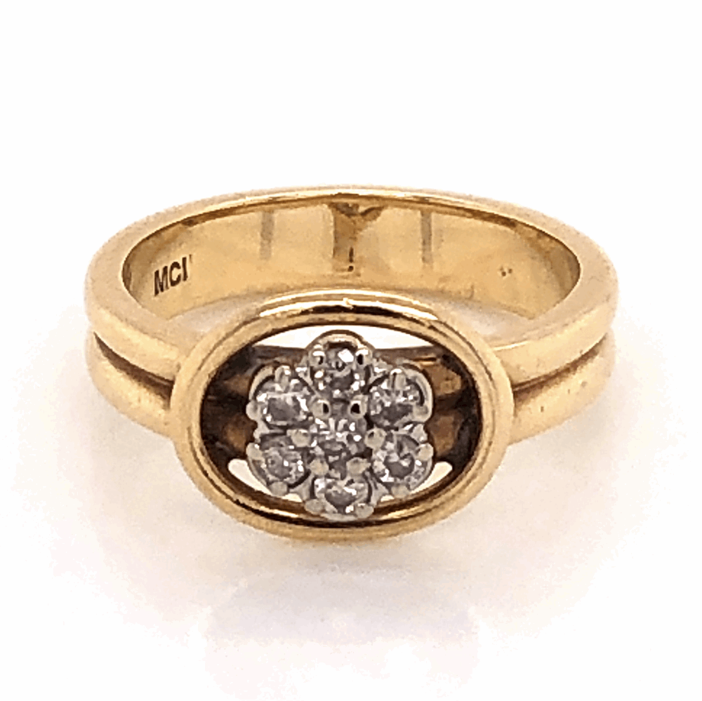 14K Yellow Gold Double Shank Diamond Cluster Ring .20tcw 3.9g, s4.5